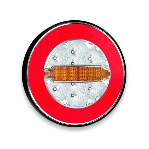 Uniwersalna lampa tylna LED, 3-funkcyjna 12 24 V okrągła do montażu szeregowego
